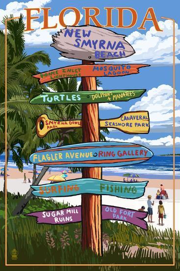 New Smyrna Beach, Florida - Destinations Signpost-Lantern Press-Art Print