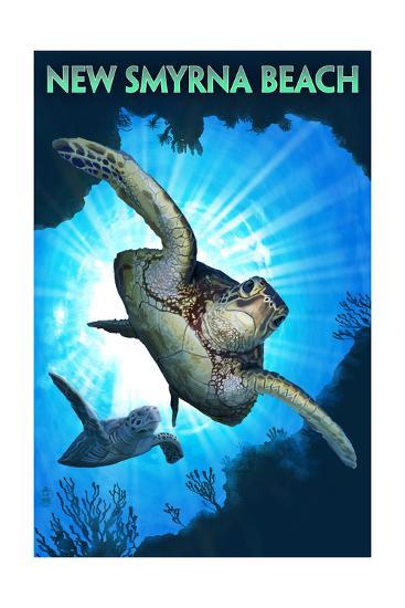 New Smyrna Beach, Florida - Sea Turtle Diving-Lantern Press-Art Print