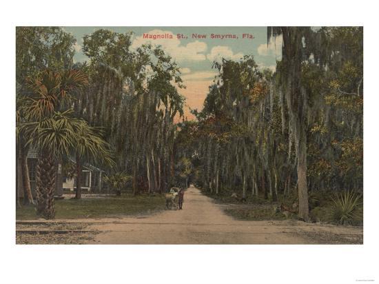 New Smyrna, Florida - View of Magnolia St. with Trees-Lantern Press-Art Print