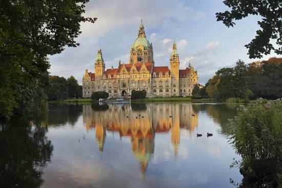 New Town Hall, Maschteich, Machpark, Hanover, Lower Saxony, Germany-Rainer Mirau-Photographic Print