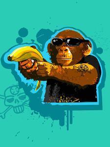 Chimpanzee Holding Banana like Gun by New Vision Technologies Inc