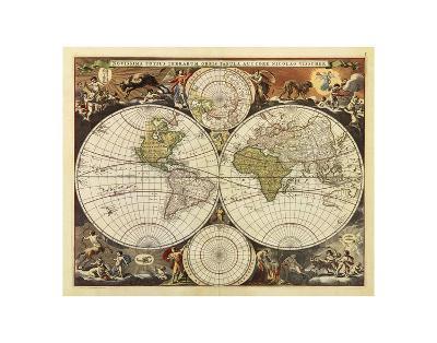 New World Map, 17th Century-Visscher-Art Print
