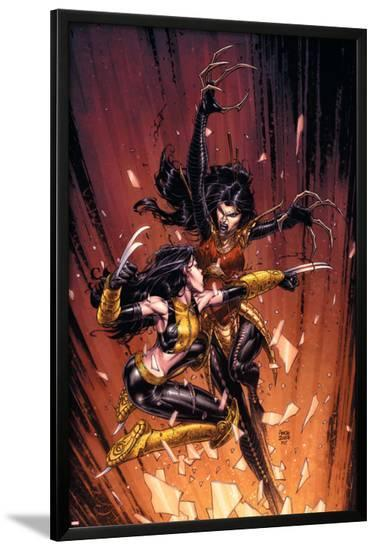 New X-Men No.45 Cover: X-23 and Lady Deathstrike-David Finch-Lamina Framed Poster