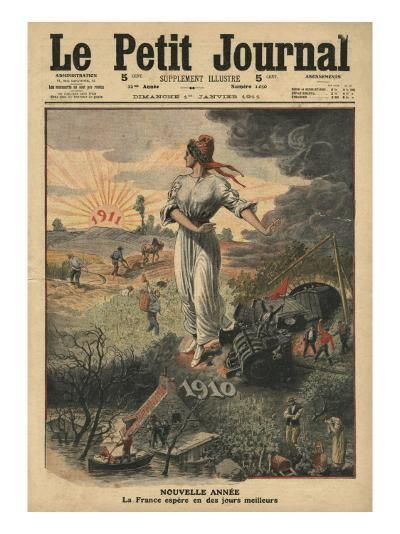 New Year, France Hopes for Better Days, Illustration from 'Le Petit Journal', 1st January 1911-French School-Giclee Print