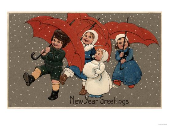 New Year Greetings - Little Kids with Umbrellas-Lantern Press-Art Print
