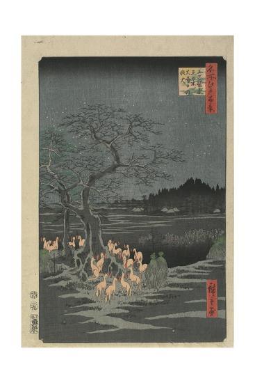 New Year's Eve Foxfires at the Hackberry Tree in O_Ji, 1857-Utagawa Hiroshige-Giclee Print