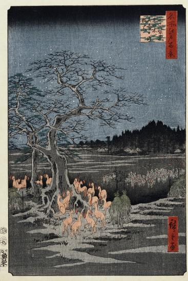 New Year's Eve Foxfires at the Nettle Tree, Oji', from the Series, 'One Hundred Famous Views of Edo-Utagawa Hiroshige-Giclee Print