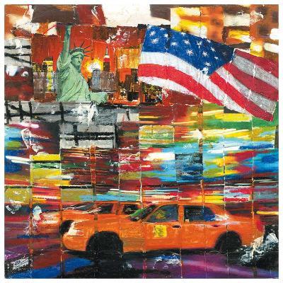 New York, 2 Taxis et Drapeau-Annick Bru-Art Print