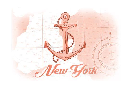 New York - Anchor - Coral - Coastal Icon-Lantern Press-Art Print