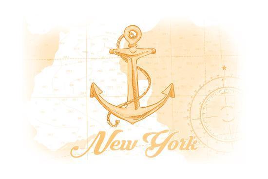 New York - Anchor - Yellow - Coastal Icon-Lantern Press-Art Print
