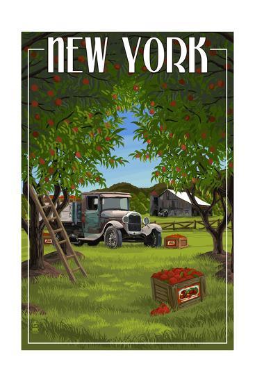 New York - Apple Orchard and Truck-Lantern Press-Art Print