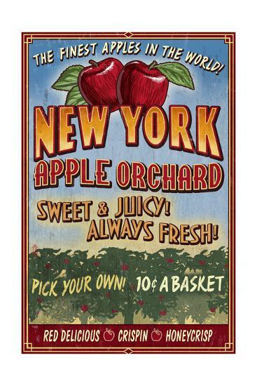 New York - Apple Orchard Vintage Sign-Lantern Press-Art Print
