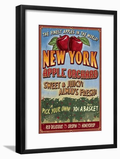 New York - Apple Orchard Vintage Sign-Lantern Press-Framed Art Print