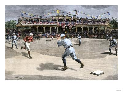 New York Baseball Team Making a Double-Play Against Boston, 1886--Giclee Print