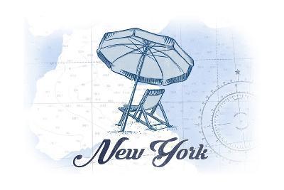 New York - Beach Chair and Umbrella - Blue - Coastal Icon-Lantern Press-Art Print