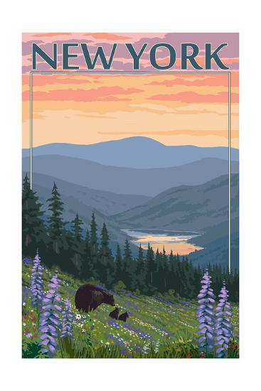 New York - Bear and Spring Flowers-Lantern Press-Art Print