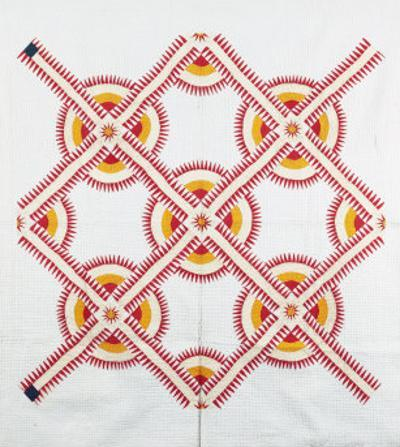 New York Beauty Coverlet, American, Pieced, Quilted and Appliqued Cotton, Circa 1870