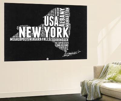 New York Black and White Map-NaxArt-Wall Mural
