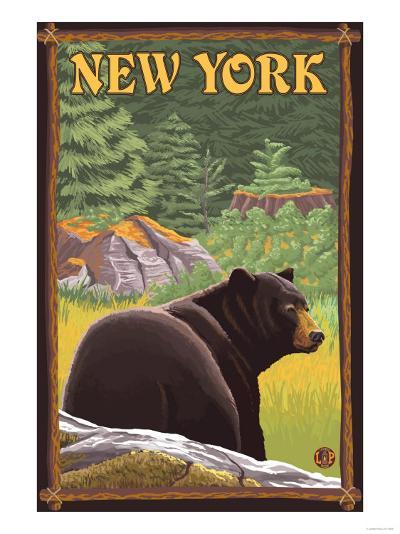 New York - Black Bear in Forest-Lantern Press-Art Print