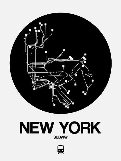 New York Subway Map Art.New York Black Subway Map Art Print By Naxart Art Com