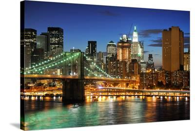 New York Brooklyn Bridge Dusk--Stretched Canvas Print