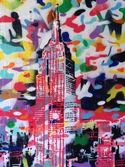 New York Camo-Abstract Graffiti-Giclee Print