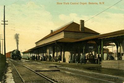 New York Central Depot, Batavia, New York, 1910--Giclee Print