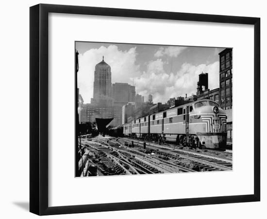 New York Central Passenger Train with a Streamlined Locomotive Leaving Chicago Station-Andreas Feininger-Framed Photographic Print