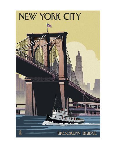 New York City - Brooklyn Bridge-Lantern Press-Art Print