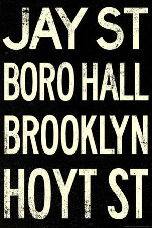 New York City Brooklyn Jay St Vintage Subway Poster