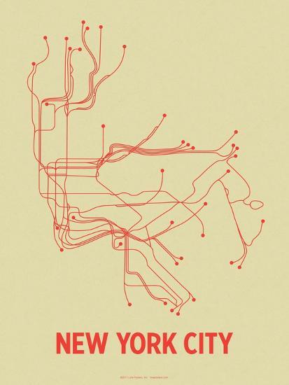 New York City (Cement Green & Orange)-LinePosters-Serigraph