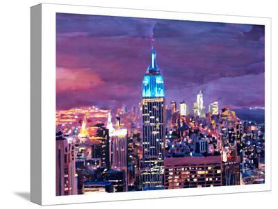 New York City - Empire State Building Feeling Like A Blue Giant-M Bleichner-Stretched Canvas Print