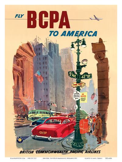 New York City - Fly BCPA to America - British Commonwealth Pacific Airline-K^ Howland-Art Print