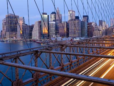 New York City, Manhattan, Downtown Financial District City Skyline Viewed from the Brooklyn Bridge -Gavin Hellier-Photographic Print