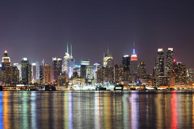 New York City Manhattan Midtown Skyline at Night with Lights Reflection over Hudson River Viewed Fr-Songquan Deng-Photographic Print