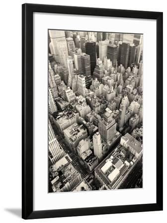 New York City Manhattan Skyline Aerial View Black and White with Skyscrapers and Street-Songquan Deng-Framed Photographic Print