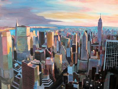 New York City - Manhattan Skyline in Warm Sunlight-Markus Bleichner-Art Print
