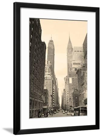 New York City Manhattan Street View with Chrysler Building Skyscrapers and Busy Traffic Black and W-Songquan Deng-Framed Photographic Print