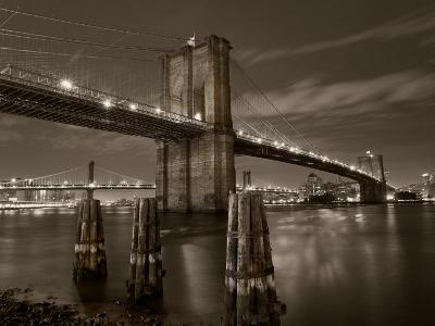 New York City, Manhattan, the Brooklyn and Manhattan Bridges Spanning the East River, USA-Gavin Hellier-Photographic Print