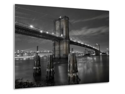 New York City, Manhattan, the Brooklyn and Manhattan Bridges Spanning the East River, USA-Gavin Hellier-Metal Print