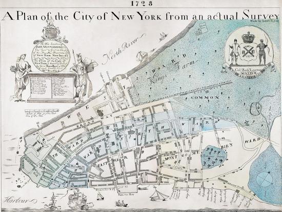 New York City Map 1728 Giclee Print By Art Com