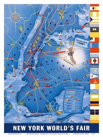 Map Of World 1939.New York City Map World S Fair 1939 Art Print By Henry Stahlhut