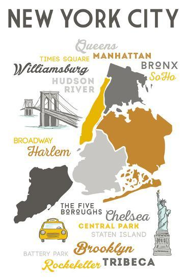 New York City, New York and Icons-Lantern Press-Wall Mural