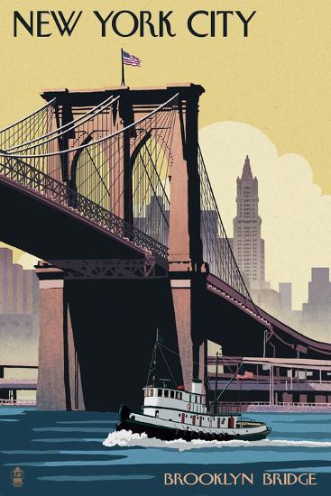 New York City, New York - Brooklyn Bridge-Lantern Press-Art Print