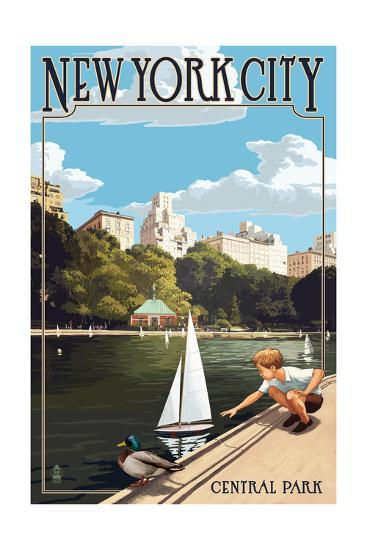 New York City, New York - Central Park-Lantern Press-Art Print