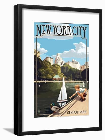 New York City, New York - Central Park-Lantern Press-Framed Art Print