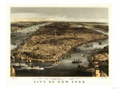 New York City, New York - Panoramic Map-Lantern Press-Art Print
