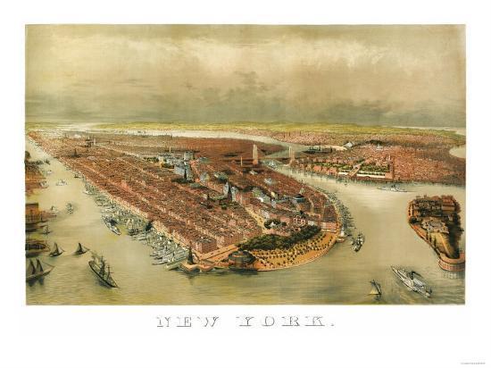 New York City, New York - Panoramic Map-Lantern Press-Art Print