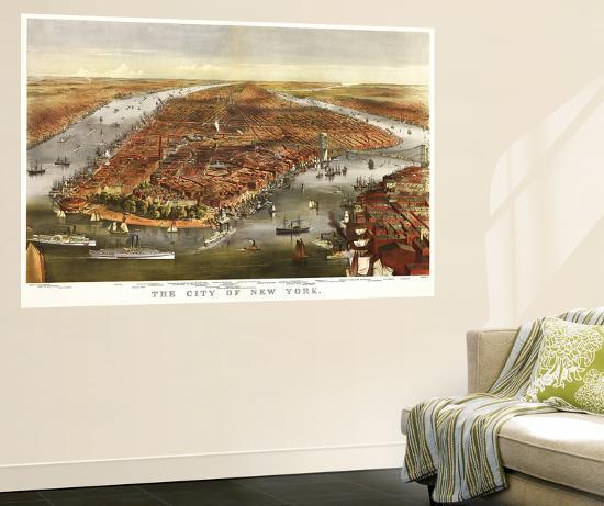New York City, New York - Panoramic Map-Lantern Press-Wall Mural