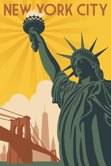 New York City, New York - Statue of Liberty and Bridge-Lantern Press-Art Print